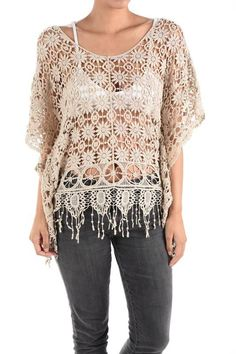Crochet Poncho Top with Armholes ~ Two Colors!