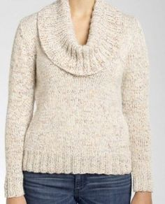 Free Knitting Pattern for Isaac Mizrahi® Craft™ University Cowl Knit Pullover and more sweater knitting patterns