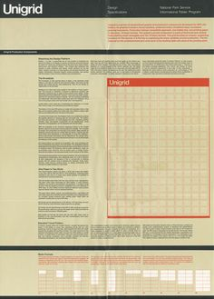 In Massimo Vignelli designed the Unigrid System for the National Park Service. The module grid system allowed the NPS to created brochures in ten basic formats and to keep a consistent, recognizable structure across all it's materials. Corporate Design, Corporate Identity, Book Design, Web Design, International Typographic Style, Massimo Vignelli, Visual System, Election Day, Presidential Election