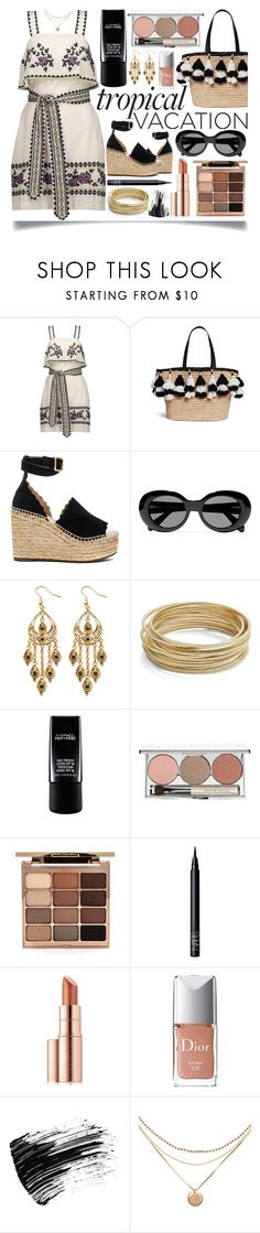 """""""Tropical Vacation"""" by ittie-kittie ❤ liked on Polyvore featuring SUNO New York, Alice + Olivia, Chloé, Acne Studios, Palm Beach Jewelry, Design Lab, Chantecaille, Stila, NARS Cosmetics and Estée Lauder"""