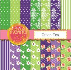 Green and purple digital paper 'Green tea' floral tea, green tea with purple jasmine, tea backgrounds for a tea party