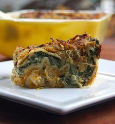 Creamy Pumpkin Spinach Lasagna #vegan