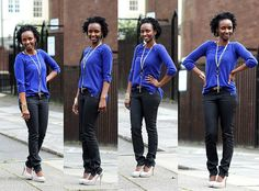 Zipper skinny jeans + cobalt blue knit top