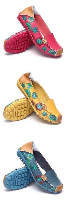 US$15.92 Floral Print Color Matching Soft Comfortable Slip On Flat Shoes