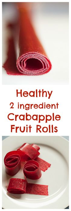 Kid friendly and healthy 2 ingredient fruit rolls made with Crabapples - bloggingwithapples.com