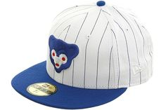New Era 2Tone Custom Fitted Chicago Cubs Hat - Pinstripe, Royal, Red