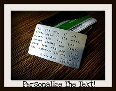 Personalized Wallet Insert Card - Christmas Card - Hand Stamped Alluminum