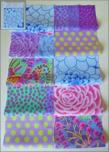 Kaffe Fassett Fabric Material Squares Pastels x 10 10cm Quilting Patchwork Craft