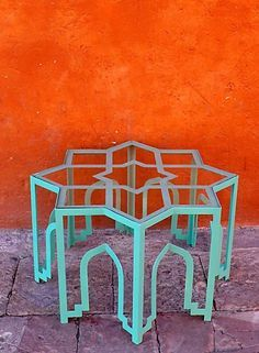 awesome table - love the classic Islamic design combined with a surreal use of space/glass (coffee table by casa midy) Moroccan Design, Moroccan Style, Moroccan Decor, Moroccan Furniture, Moroccan Blue, Interior Inspiration, Color Inspiration, Le Riad, Hookah Lounge