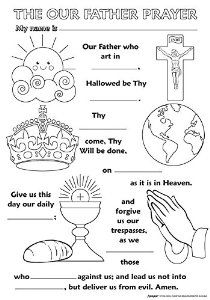Childrens Religious Coloring Posters (Our Father Prayer) Catholic Religious Education, Catholic Crafts, Catholic Kids, Catholic Catechism, Catholic School, Kids Church, Church Ideas, Religion Activities, Teaching Religion