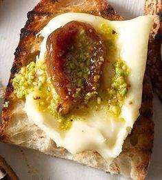 Pickled Fig, Robiola & Pistachio Oil - Bon Appétit