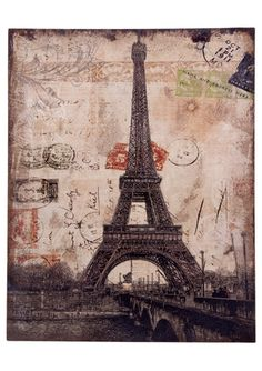 Overstock eiffel tower blueprint rustic canvas art home essentials and beyond linen eiffel tower wall art malvernweather Images