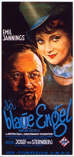 Poster - Marlene Dietrich, The Blue Angel.  Germany, 1929