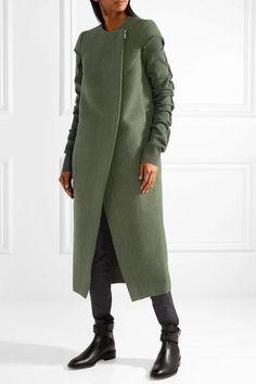 Rick Owens - Ribbed-knit And Wool Coat - Army green