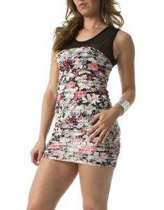 (CLICK IMAGE TWICE FOR DETAILS AND PRICING) Francis Bodycon Dress Black. This floral print is fun and flirty, it features a sheer mesh yoke and ruffles. Rock this bodycon dress with a blazer and heels for an all out fashionably chic look!. See More Mini Dress at http://www.ourgreatshop.com/Mini-Dress-C90.aspx