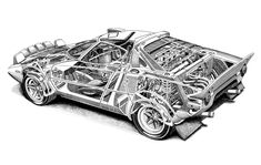 Lancia Stratos cutaway_by Shin Yoshikawa. Cutaway, Sport Cars, Race Cars, Lancia Delta, Fiat Abarth, E Type, Car Drawings, Automotive Art, Rally Car