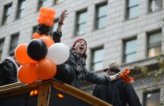 Description of . The San Francisco Giants' Tim Lincecum yells to the crowd during their World Series victory parade through downtown San Francisco, Calif., on Friday, Oct. 31, 2014. The Giants celebrated their third World Series victory in the last five years. (Dan Honda/Bay Area News Group)
