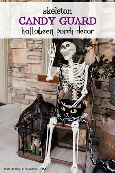 Have fun creating an awesome entry this year. Give your guests a spooky skeleton welcome with these fun Halloween front porch decoration ideas. But keep it classy with white pumpkins and a farmhouse flare. Find out how at PartiesWithACause.com #halloweendecor #halloweenoutdoor #halloweenporch