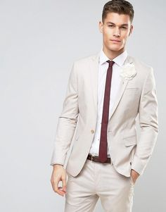 ASOS WEDDING Skinny Suit In Stretch Cotton In Putty