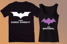 Batman & Batgirl Couples Tee Shirts - Her Dark Knight and His Batgirl Matching Tank Tops - Custom Batman Shirts Funny Couple Shirts, Couple Tees, Matching Couple Shirts, Matching Outfits, Funny Shirts, Batman And Batgirl, Batman Shirt, Couple Outfits, Outfits For Teens