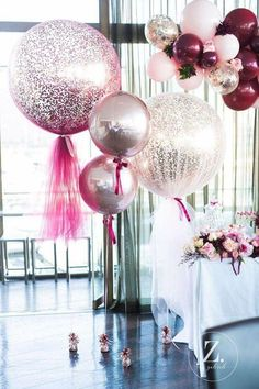 Pastel Pink & metallic sparkly balloons are the perfect addition to a hen party! Pastel Pink & metallic sparkly balloons are the perfect addition to a hen party! Tulle Balloons, Wedding Balloons, Glitter Balloons, Pastel Balloons, 30th Balloons, Party Ballons, Balloon Ideas, Balloon Garland, Ideas Party