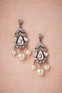lovely crystal and pearl drop earrings