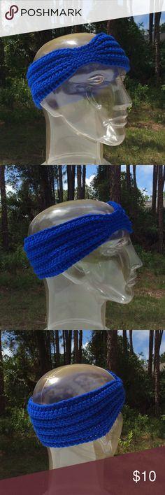 "Handmade blue headband Circumference: ~20"". Length, at widest: ~3.25"". 100% acrylic. Crocheted. Handmade Accessories Hair Accessories"