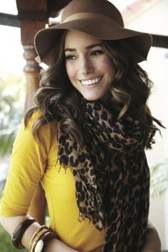 """Leopard is totally the new black, good news@Kathleen Van Wyck cause it's totally your """"color"""" Leopard Print Scarf, Animal Print Scarf, Cheetah Print, Leopard Blouse, Animal Prints, Fashion Moda, Womens Fashion, Fashion Wear, Love Hat"""