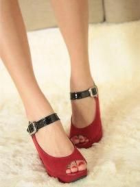 Summer Lady Ankle Buckle Wedge Sandal Shoes Red