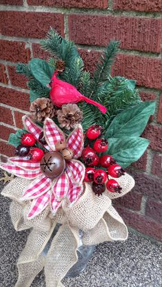 Christmas cemetery spike, Grave decoration, Holiday grave flowers, Mausoleum floral by GoodWreathsByKathy on Etsy Grave Flowers, Cemetery Flowers, Funeral Flowers, Christmas Wreaths, Christmas Crafts, Christmas Decorations, Christmas Ornaments, Holiday Decor, Christmas Centerpieces