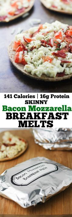 These 5 ingredient, freezer friendly Skinny Bacon Mozzarella Melts are the perfect make-ahead breakfast for the health-conscious!