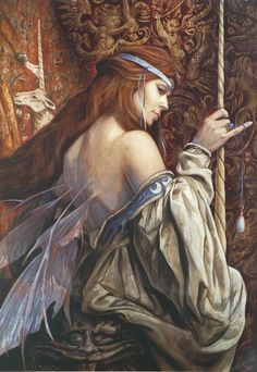 """meanwhilebackinthedungeon: Brian Froud """"It is known that the queen of faeries possesses a unicorn horn of great mystic power and the opal tear shed by the unicorn as it died. Brian Froud, Fantasy World, Fantasy Art, Fantasy Fairies, Fantasy Images, Morgana Le Fay, Nature Spirits, Robert Louis Stevenson, Art Sculpture"""
