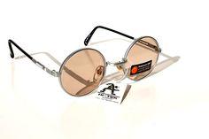 round silver metal frame sunglasses with sunsensor XDF lenses Hi Tek