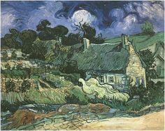 Vincent van Gogh Casas de campo con techo de paja en Cordeville Painting
