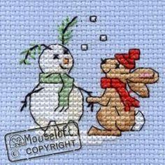 Stitchlets Christmas Card Cross Stitch Kit - Snowbunny