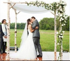 Birch arbor Chuppah. The symbolism of the Chuppah in the Jewish wedding ceremony is such a beautiful reminder of God's covering on the marriage and it is so cool!