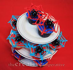 The Creative Imperative: Spiderman Party with DIY Cupcake Stand