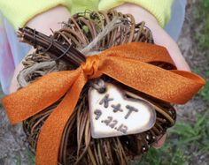 Personalized Rustic Pumpkin Ring Bearer Pillow - Perfect for your Outdoor Fall Wedding