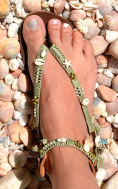 Boho Chic, Women Leather Crochet Sandals, Bohemian Chic Beach Sandals, Hippie Beaded Sandals, Greek Sandals  You can decorate your hands, ears, neck & now also … your feet!!!  This sandal is perfect foot jewelry♥ I am in love with, and inspired by the boho/ bohemian/ hippie/ tribal styles...  So … TAKE A WALK ON THE WILD SIDE…Δ▼Δ▼  My designs are made to be worn with sundresses, denim skirts or pants, white frilly tops, and everything else you wear during the warmer months.  These sandals…