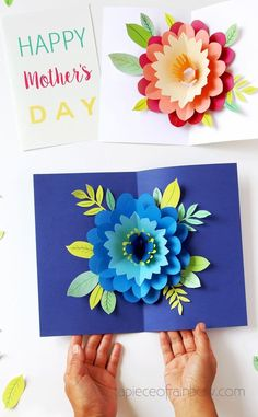 Easy DIY Happy Mother's Day card with beautiful big pop up flower: tutorial, video & free printable templates for handmade version & Cricut print and cut! - A Piece of Rainbow #diy #crafts #crafting #papercraft #papercrafts #greetingcard #valentinesday #birthday #mothersday #flower #cricut #cricutmaker #cricutcrafts Diy Happy Mother's Day, Happy Mother's Day Card, Mother's Day Diy, Pop Up Flowers, Paper Flowers Diy, Flower Diy, Pop Up Flower Cards, Craft Flowers, Mothers Day Crafts
