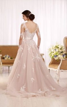 D2186 Tulle wedding dress with illusion lace sleeves by Essense of Australia