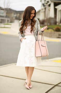lace skirt with pink top and blazer