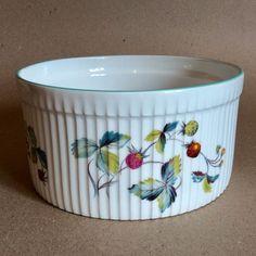 ROYAL WORCESTER Porcelain Blue Trim Soufflé Strawberry Fair Flameproof Floral #RoyalWorcester
