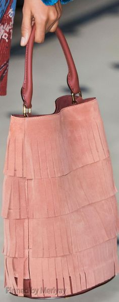 Burberry Prorsum ~ Fall Suede Tote w Leather Handles, Salmon 2015.