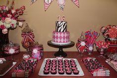 sweet sixteen sugar cookies | Sweet 16 Pink & Brown Dessert Table @ Debbie Kennedy Events & Design ...