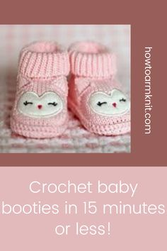 Come look at these Crochet baby booties in 15 minutes or less! these booties are so adorable and fun to make! These baby booties are just so awesome you are going to love this! #Crochetbabybootiesin15minutesorless! #Crochetbooties #Babybooties Half Double Crochet, Single Crochet, Cute Crochet, Crochet Hooks, Dk Weight Yarn, Crochet Baby Booties, Yarn Needle, Pretty In Pink, Free Pattern