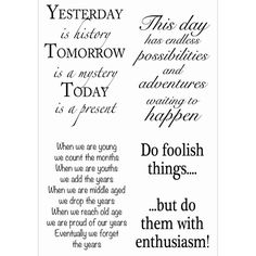 WOODWARE CRAFT COLLECTION-Clear Stamps. These are fun designs to add to any paper or card making project. This package contains five stamps on a 4x6 inch backing sheet. Design: Inspirational Phrases.