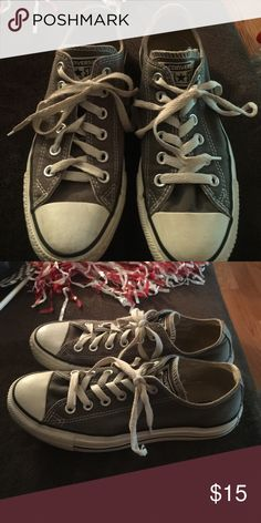 Ladies Converse Size 5 Ladies Converse- Gray- Size 5. My daughter outgrew them. Good shape. Converse Shoes Sneakers