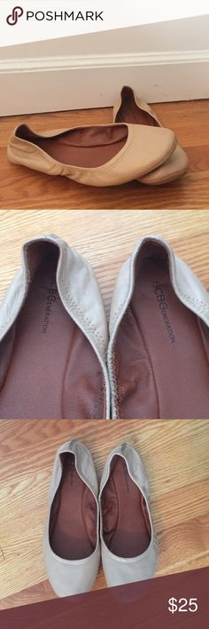 BCBGeneration nude flats These flats have an elastic back so they fit nice and snug without squeezing. Great nude color with a pink to it. BCBGeneration Shoes Flats & Loafers