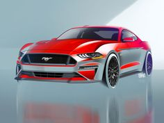 2018 Ford Mustang Design Sketch Render